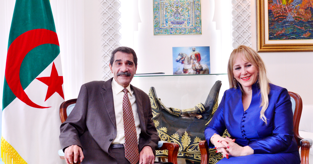 Algerian Ambassador to Korea Mohammed El Amine Derragui (left) and his spouse Chafika Derragui pose in a photo session during an interview with The Korea Herald at his residence in northern Seoul on Feb. 25. (Park Hyun-koo/ The Korea Herald)