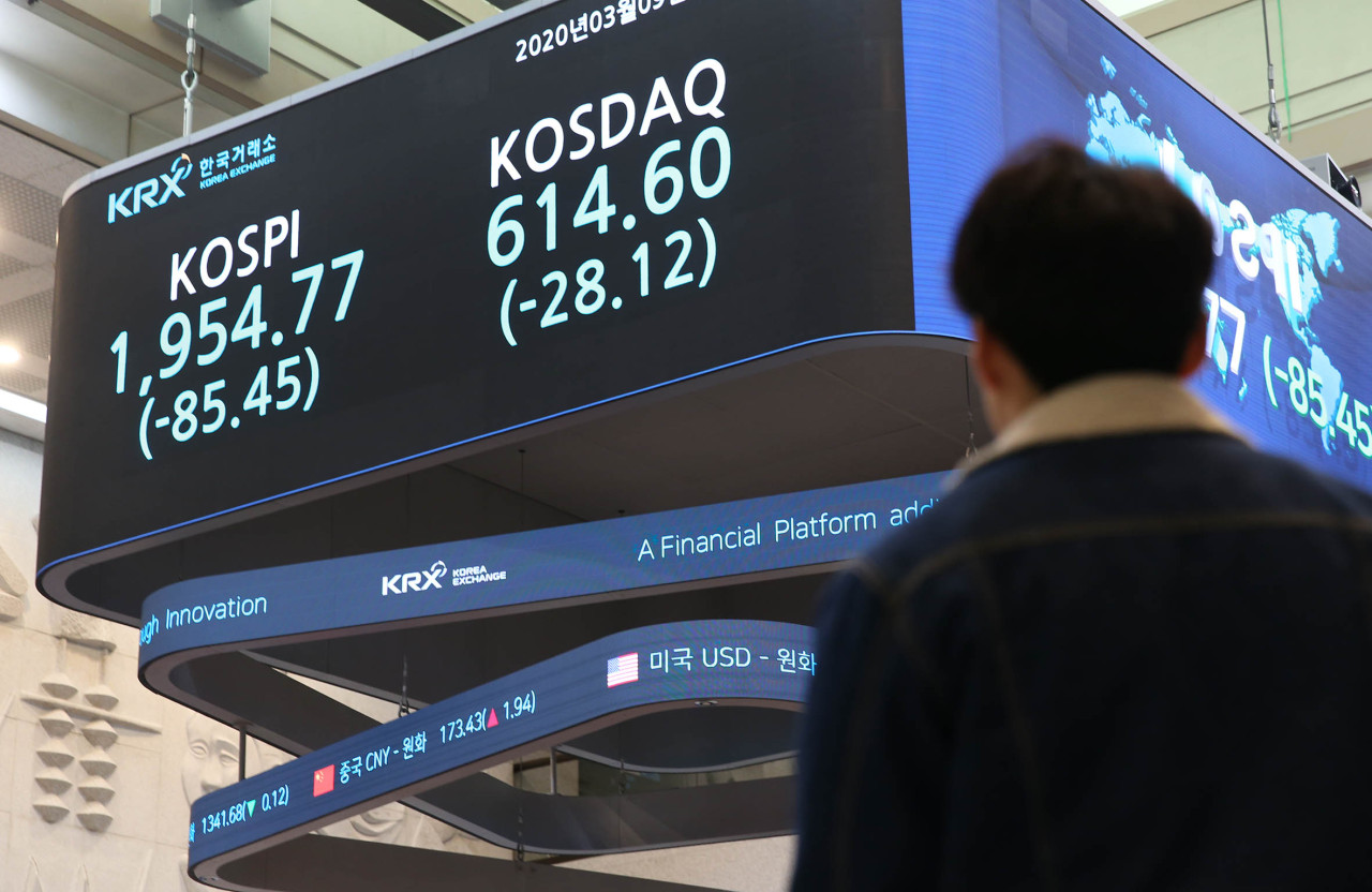 A sign at the Korea Exchange shows that the two major stock indexes plunge more than 4 percent at Monday's closing bell, amid the coronavirus fears. (KRX)