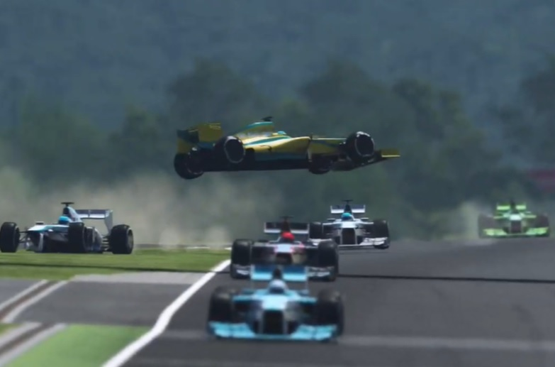Top pro racecar driver Ross Gunn's car goes flying on Sunday's rFactor 2 esports event. (The Race)
