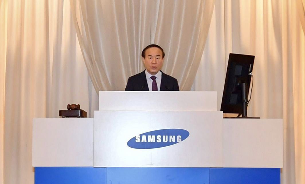 Samsung SDI president Jun Young-hyun speaks at the company's general shareholders meeting. (Samsung SDI)