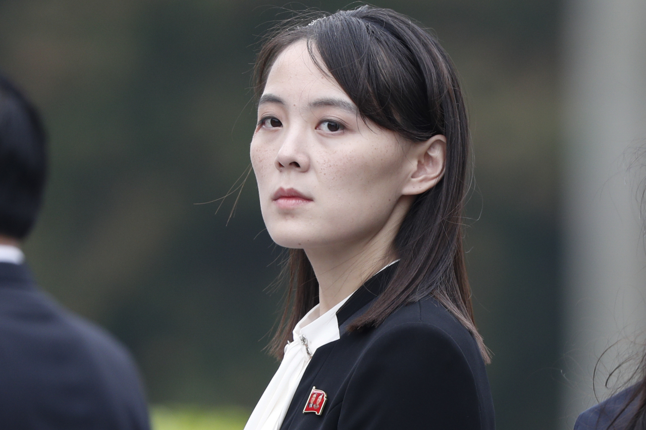 """Kim Yo-jong, the younger sister of North Korean leader Kim Jong-un, releases her second official statement Sunday, praising """"exceptional rapport"""" between his brother and US President Donald Trump who had sent Kim a letter wishing to expand bilateral cooperation to combat the coronavirus pandemic. (Yonhap)"""