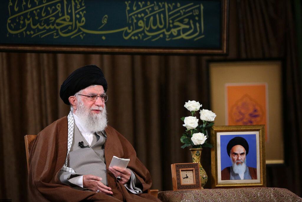Iran's Supreme Leader Ayatollah Ali Khamenei delivers a televised speech in Tehran, Iran on Sunday. (Yonhap)