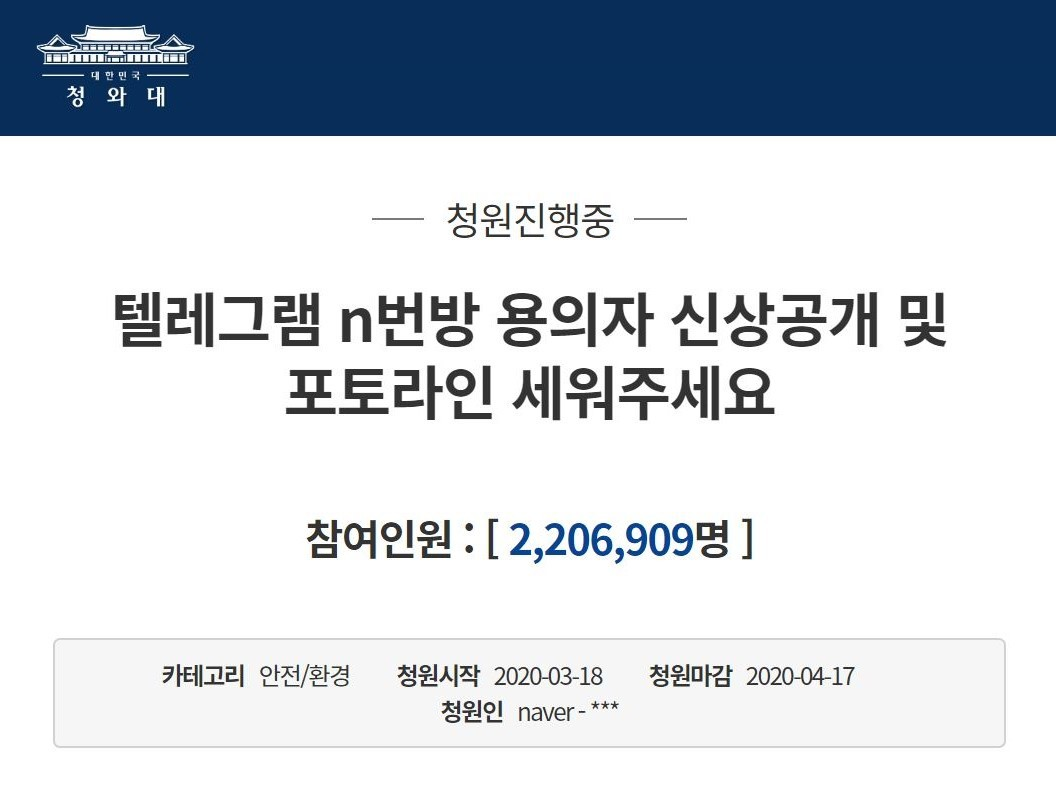 (Screenshot captured from an online petition system run by South Korea's presidential office on March 23, 2020)