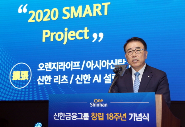 Shinhan Financial Group Chairman Cho Yong-byoung speaks at the group`s annual yearly kick-off meeting held in January (Shinhan Financial Group)