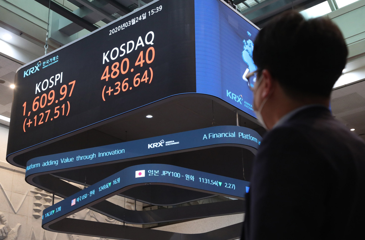 A sign at the Korea Exchange shows the Tuesday's closing prices of two major stock indexes. (KRX)