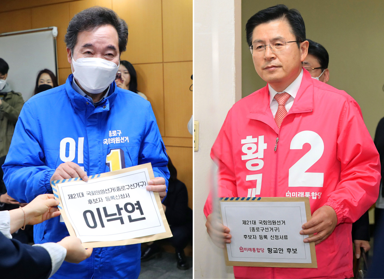 Two formal prime ministers Lee Nak-yeon (left) of the ruling Democratic Party and Hwang Kyo-ahn of the main opposition United Future Party on Thursday registered to run for parliamentary seat in Jongno district for the April 15 general election. (Yonhap)