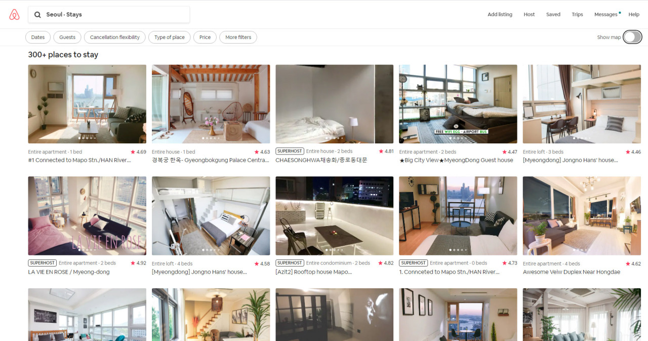 Listings in Seoul on Airbnb platform (Airbnb website)