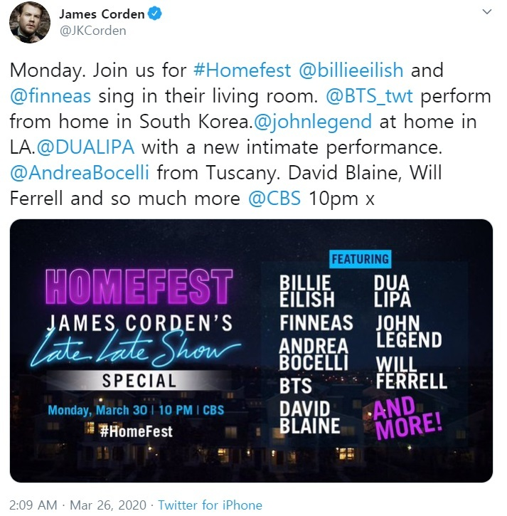"James Corden tweeting ""Homefest"" lineup on Thursday. (Twitter)"