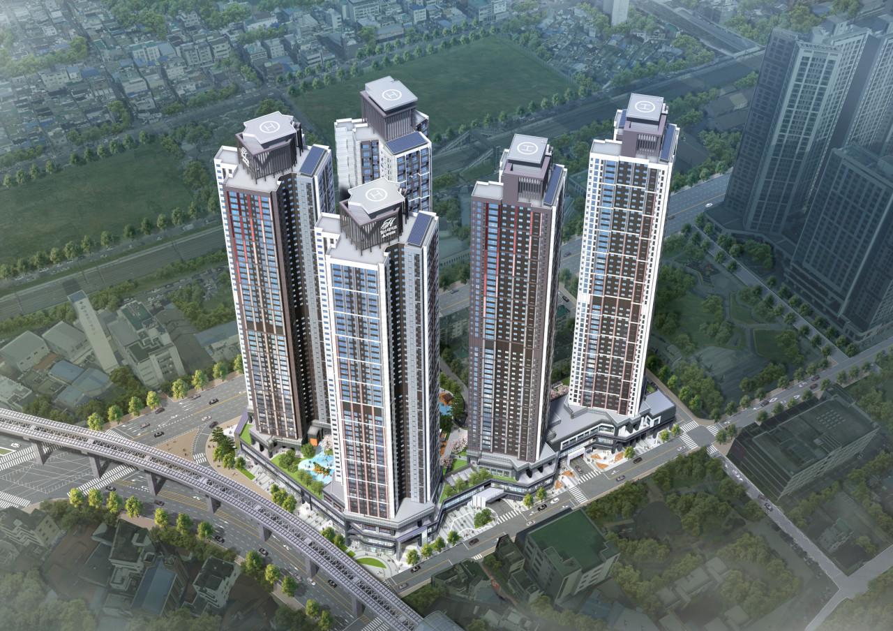 An aerial view of Hyundai Engineering and Construction's apartment complex Hillstate Dowon Central in Daegu, Gyeongsang Province (Hyundai E&C)