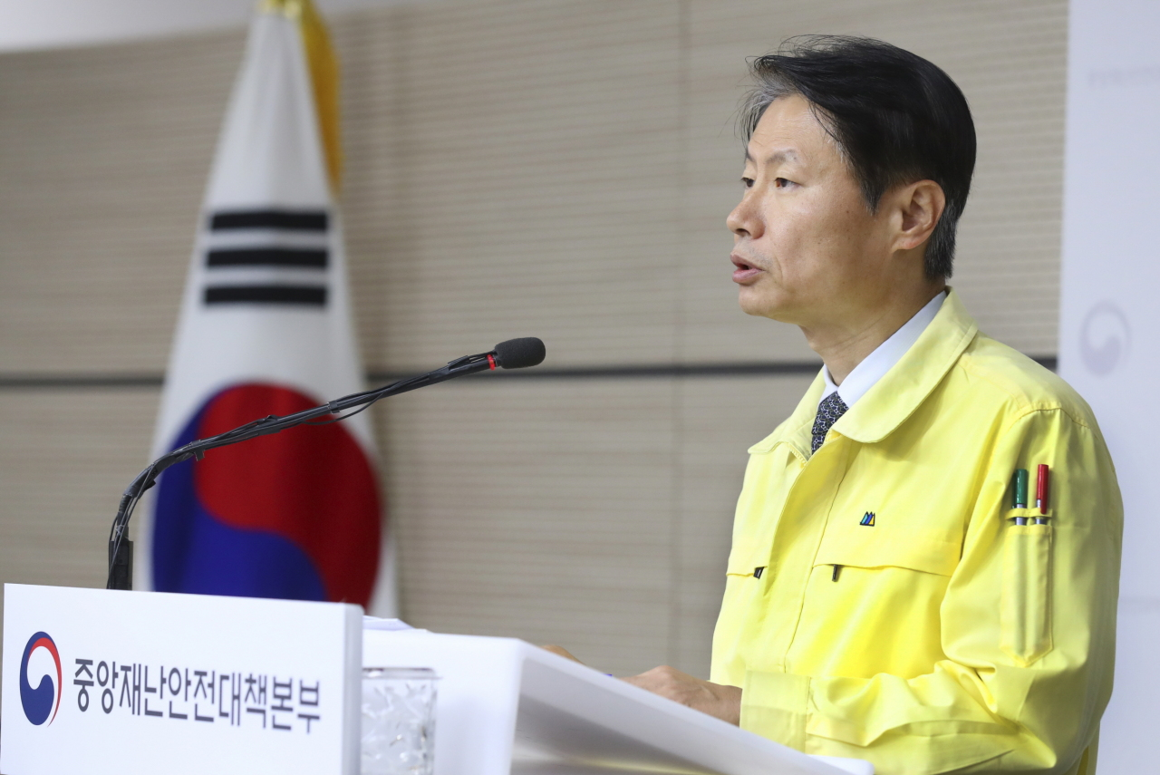 Vice Health Minister Kim Gang-lip speaks during a press briefing on Tuesday. (Health Ministry)