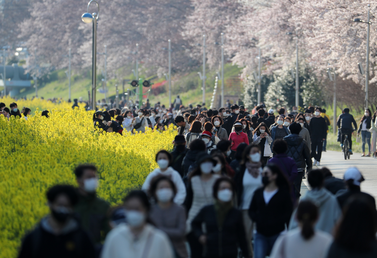 People taking a walk at a public park in Busan enjoying rape flowers and cherry blossoms. Yonhap