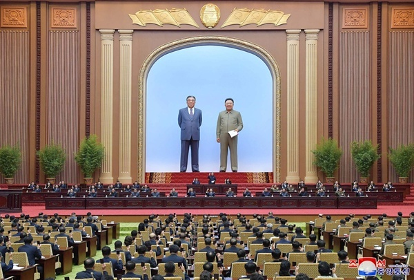 The presidium of the Supreme People`s Assembly convened the second second session of the 14th SPA in August last year. (KCNA-Yonhap)