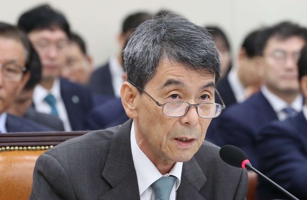 Korea Development Bank Chairman Lee Dong-gull speaks at a parliamentary audit on Oct. 14, 2019. (Yonhap)