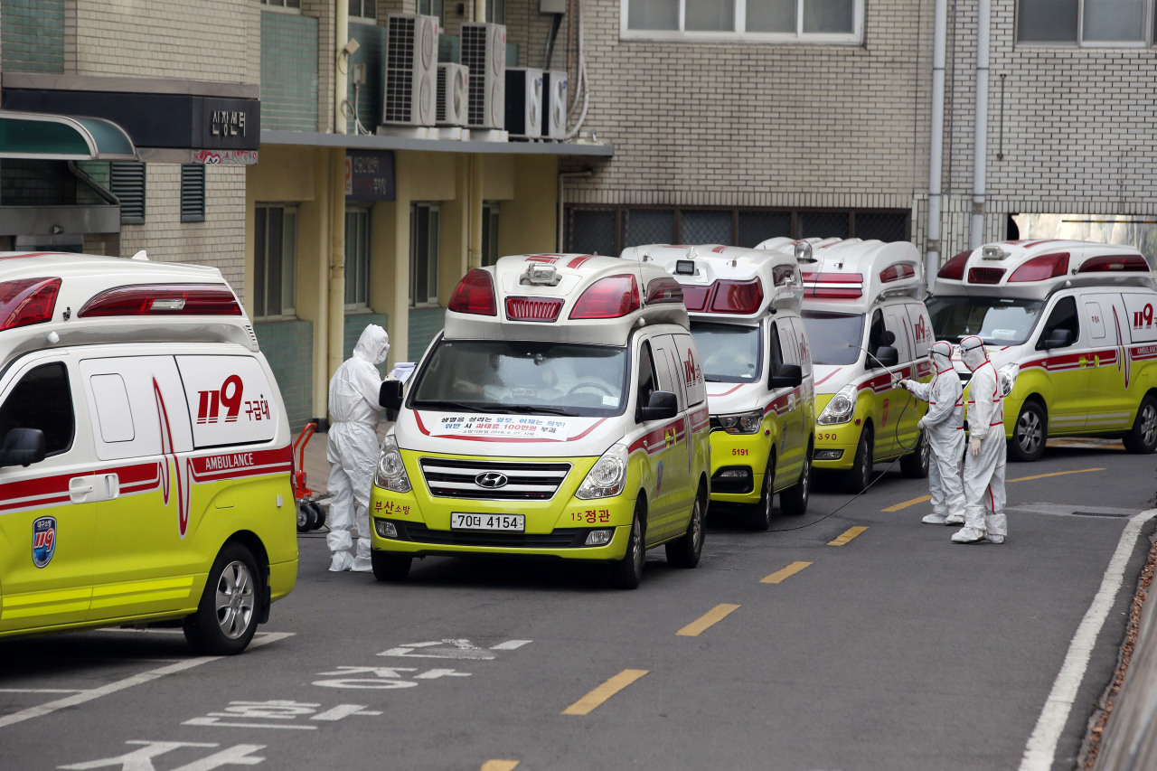 This photo shows ambulances lined up outside a hospital in Daegu. (Keimyung University Dongsan Hospital)