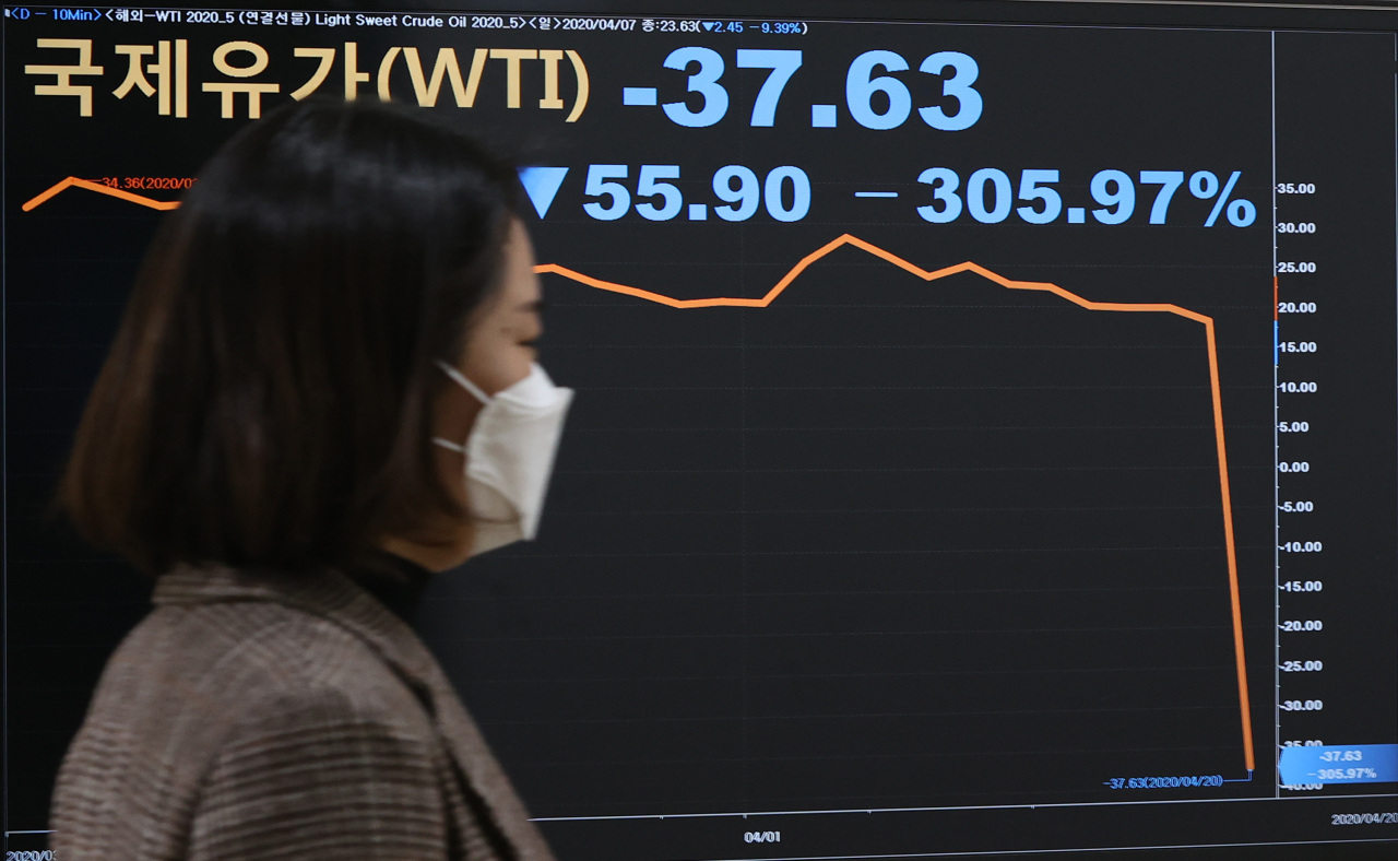 A sign at Yonhap Infomax in Seoul on Tuesday shows the futures contract for US West Texas Intermediate crude for May delivery closed at negative $37.63 per barrel. (Yonhap)