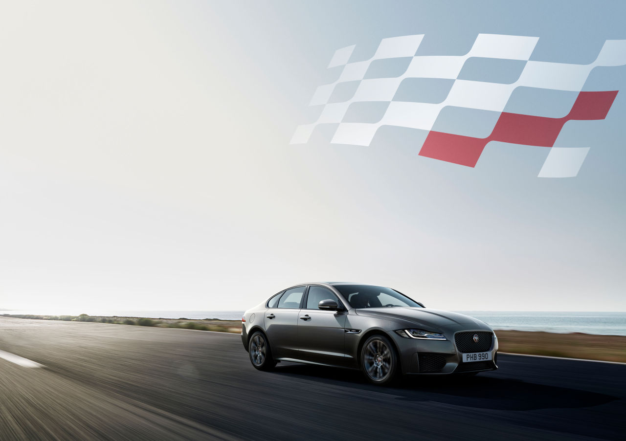 Jaguar Land Rover's 2020 XF checkered flag edition (Jaguar Land Rover)
