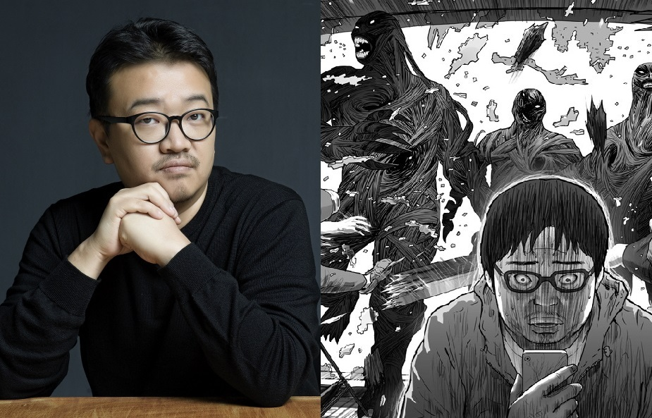 Director Yeon Sang-ho (left) and a scene from webcomic