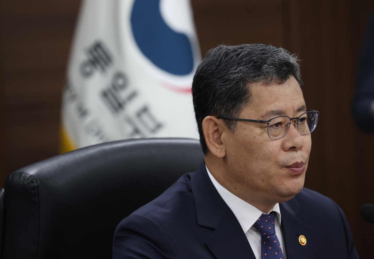 Unification Minister Kim Yeon-chul speaks during a press conference held in Seoul on Thursday. (Yonhap)