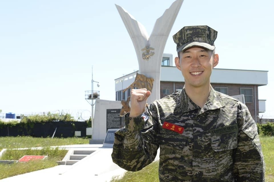Son Heung-min (The Marine Corps' Facebook account-Yonhap)