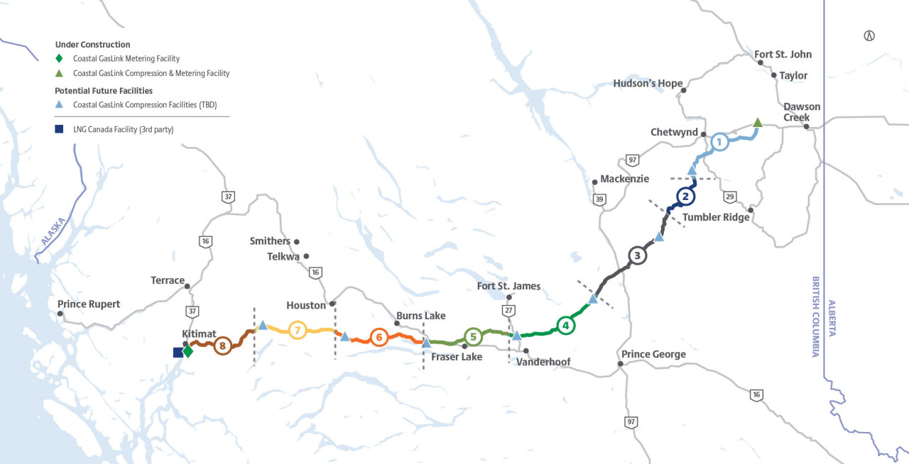 A map of the approved Coastal GasLink route as of May 2020 (Courtesy of Coastal GasLink)