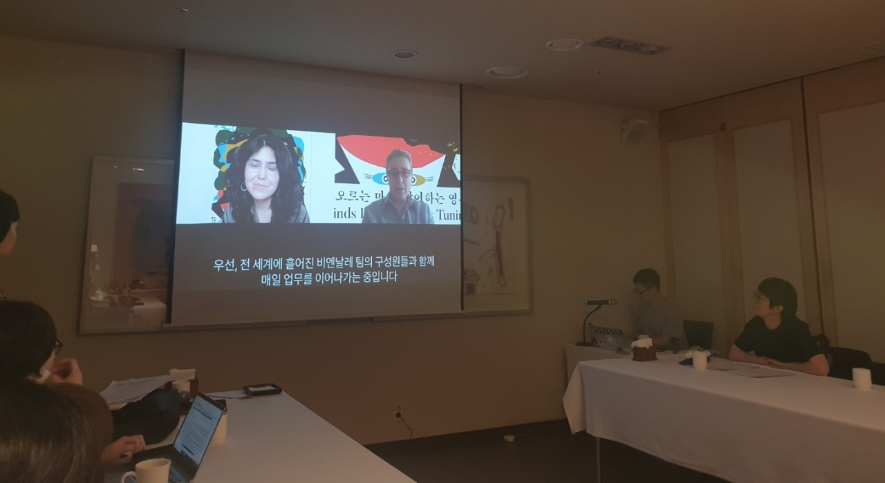 A press conference on the 13th Gwangju Biennale was held Thursday at Dalgaebi Conference House in Jung-gu,central Seoul, through a video meeting with two co-artistic directors, Defne Ayas and Natasha Ginwala. (Park Yuna/The Korea Herald)