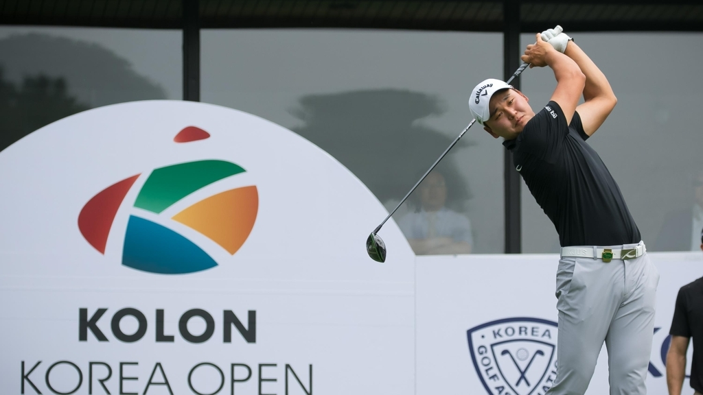 Pro golfer Kim Jun-sung participates in the 60th Kolong Korea Open, a golf competition held by South Korean conglomerate Kolon,in June, 2017. (Kolon)