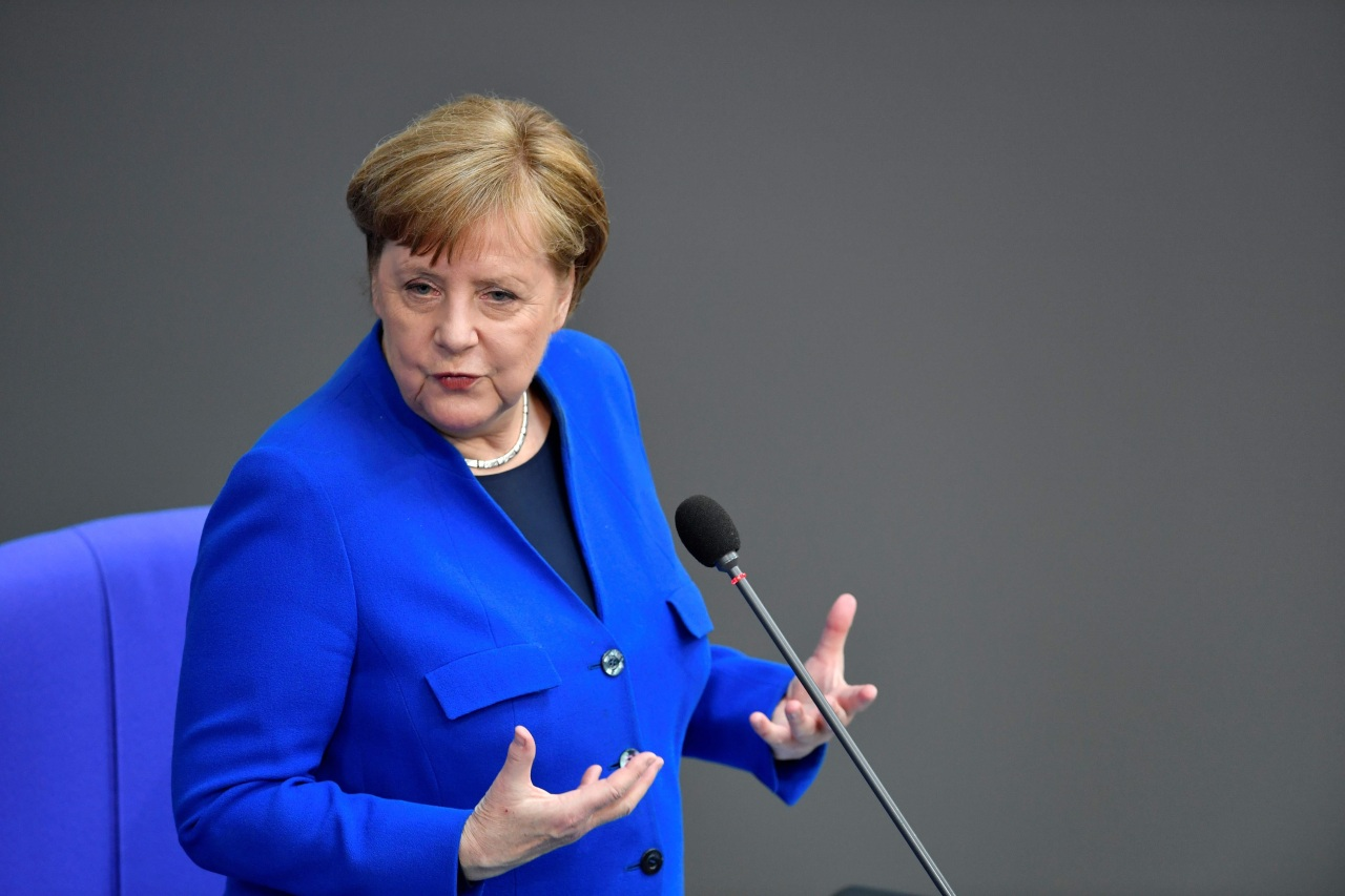 German Chancellor Angela Merkel speaks as she answers questions of parliament members at the Bundestag, the lower house of Parliament, on May 13, 2020 in Berlin, amid the new coronavirus COVID-19 pandemic. (AFP-Yonhap)