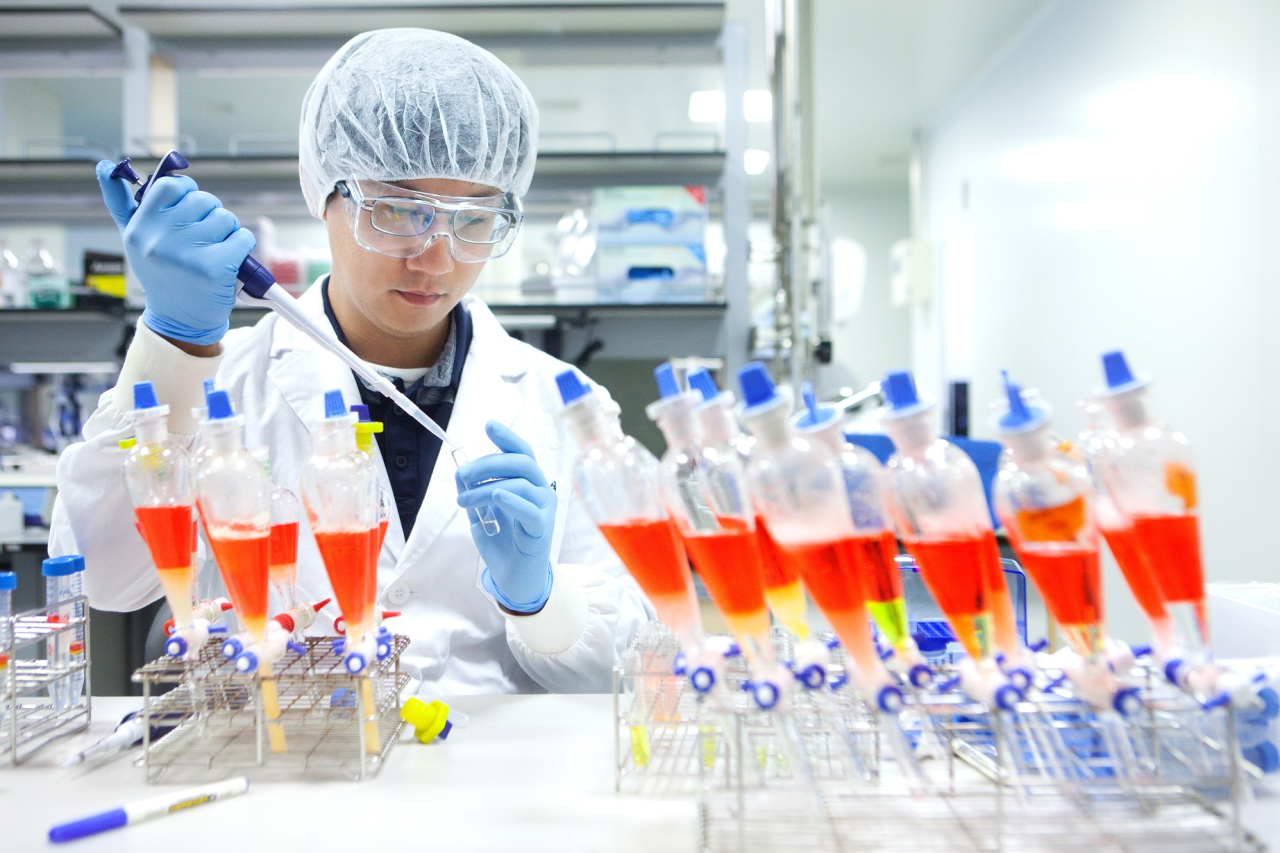 A SK Bioscience vaccine researcher is at work. (SK Bioscience)