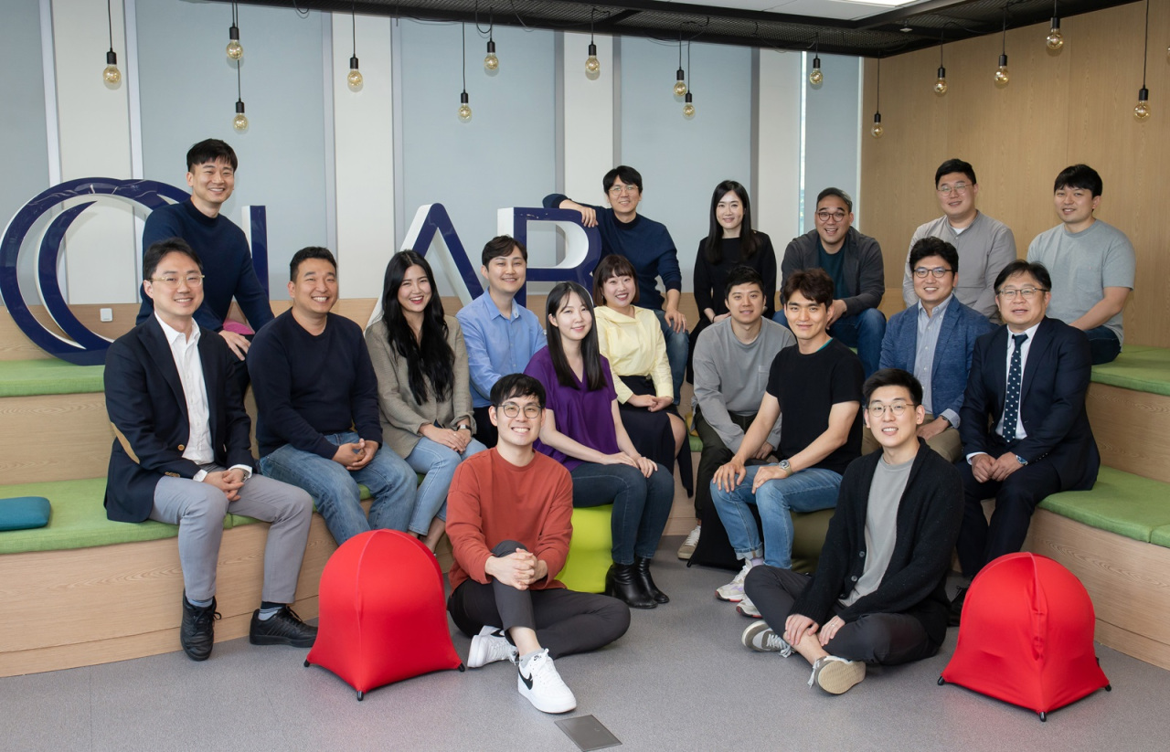 Samsung employees selected as C-Lab project team members pose at their office in Suwon, Gyeonggi Province, Monday. (Samsung Electronics)