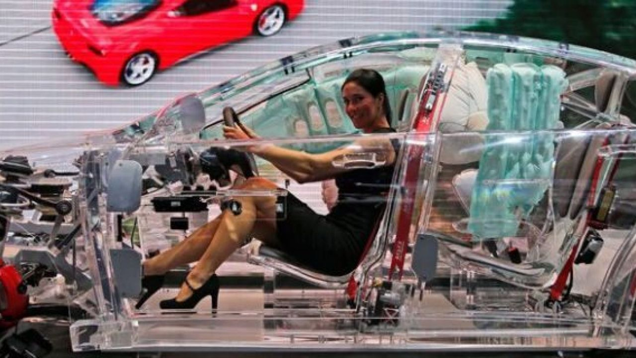 A transparent car concept, created by automobiles industry supplier TRW, is showcased during a motor show in Germany. (AP file photo)