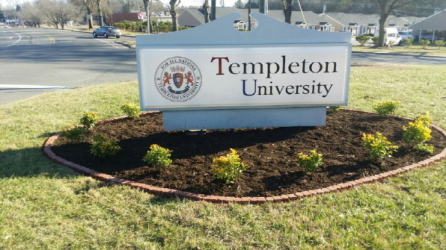 A Templeton University sign in Charlotte, North Carolina. (Templeton University website)