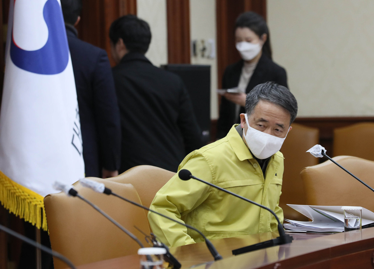 Health Minister Park Neung-hoo in a Central Disaster Response Headquarters meeting (Yonhap)