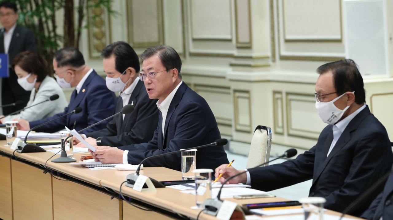 President Moon Jae-in speaks at the fiscal strategy meeting on Monday. (Yonhap)