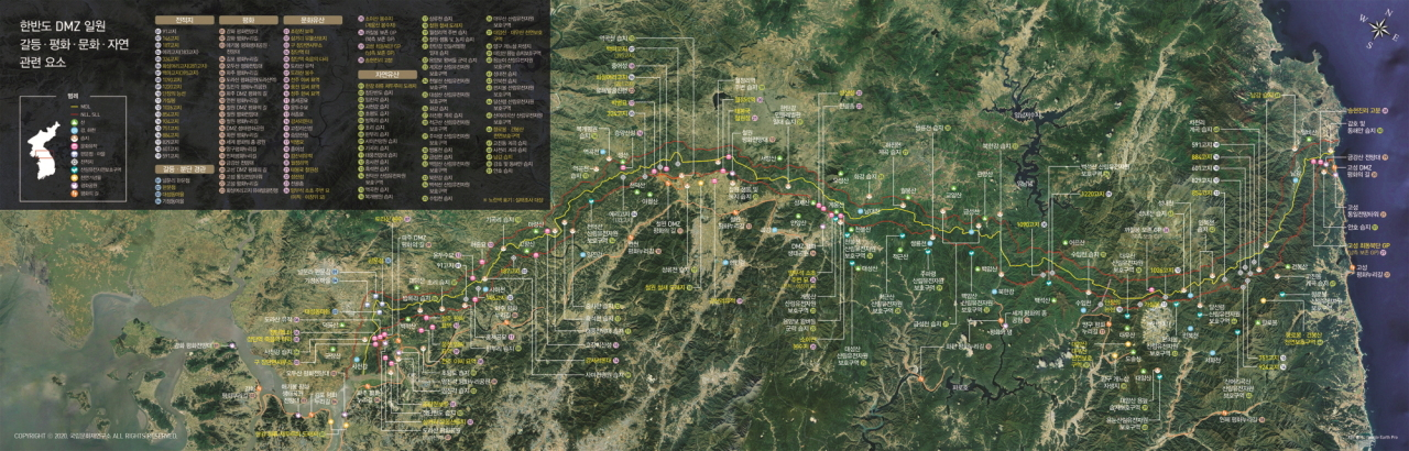 A map for the joint research on cultural heritage inside the DMZ. (Cultural Heritage Administration)