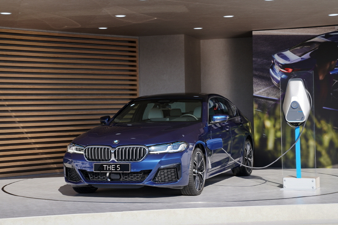 The new 5 Series model displayed at the BMW Driving Center in Incheon on Wednesday. (BMW Korea)