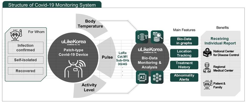 COVID-19 monitoring system process (ULikeKorea)