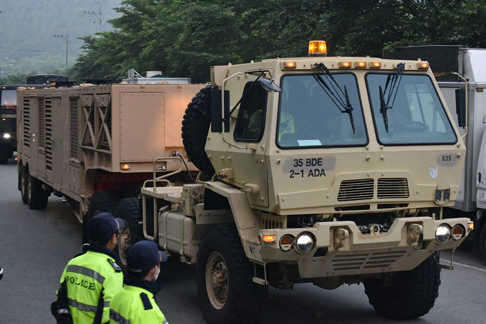 Military vehicles transport missiles to the site of the THAAD base in the town of Seongju, North Gyeongsang Province.