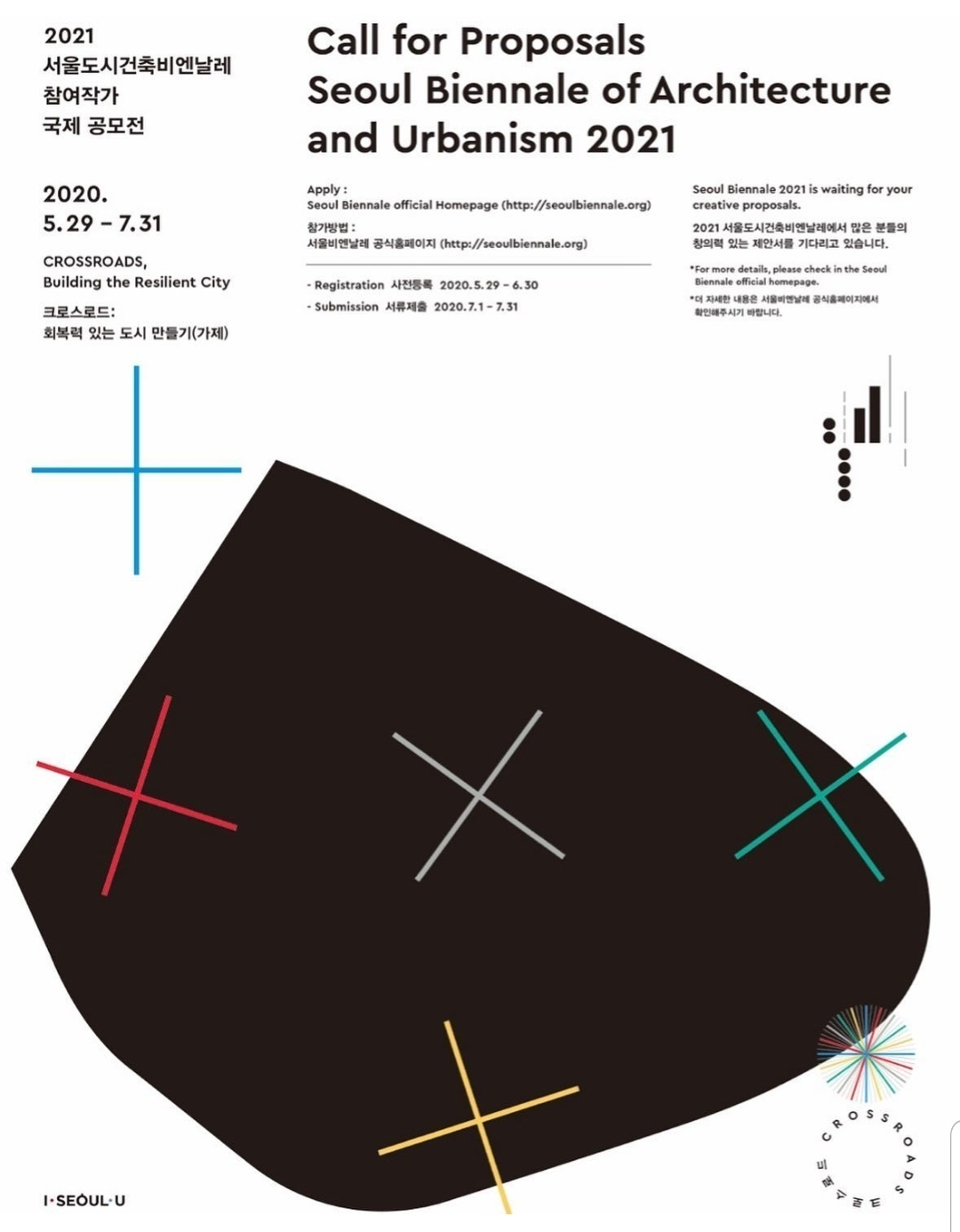 A poster of the international application for the 2021 Seoul Biennale of Architecture and Urbanism (SBAU)