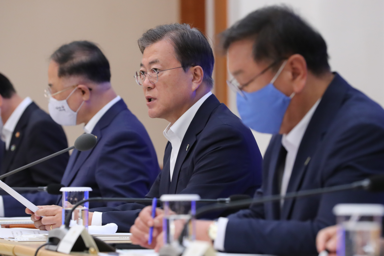 President Moon Jae-in speaks at the economy meeting on Monday. Yonhap