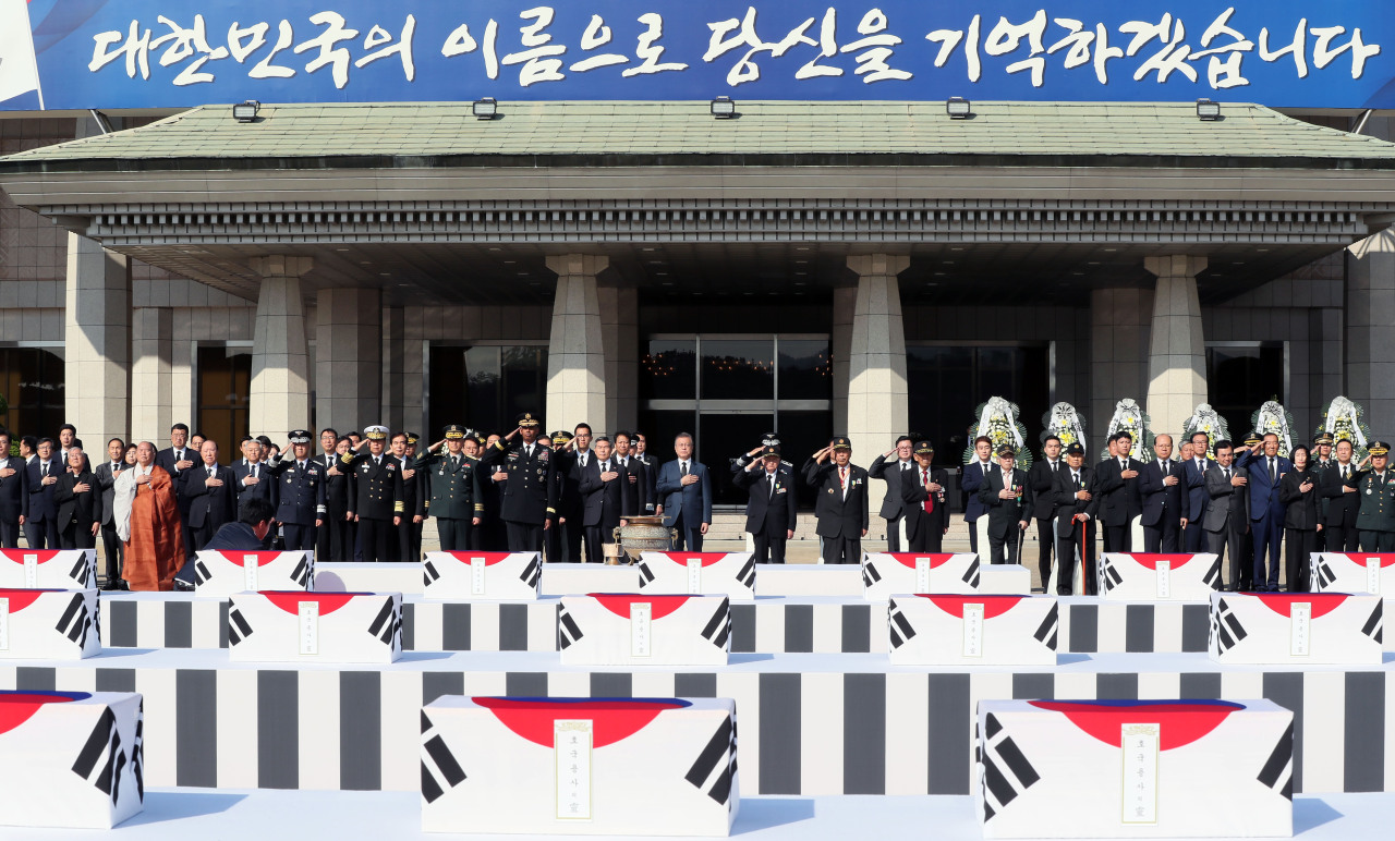 South Korea holds a ceremony to mark the return of Korean War remains retrieved from North Korea on Armed Forces Day, Oct. 1, 2018, at Seoul Air Base. (Ministry of National Defense)