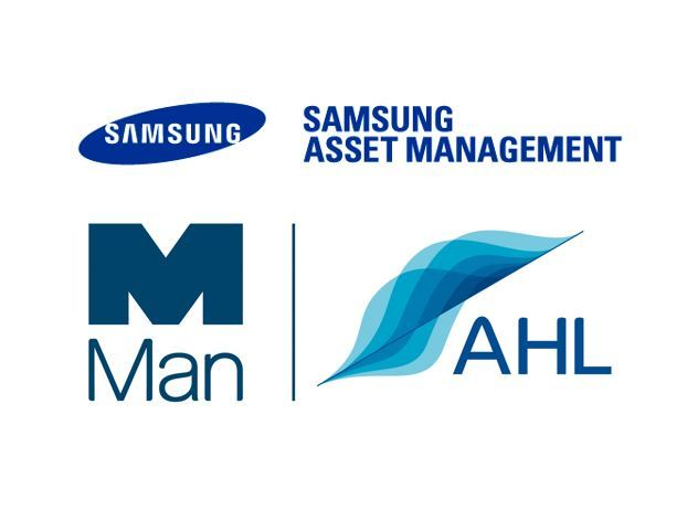 Logos of Samsung Asset Management (from top) and Man AHL