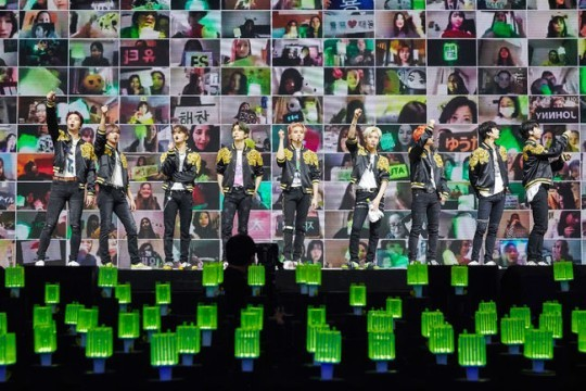 NCT 127 performs onstage at a concert streamed via Naver. (S.M. Entertainment)