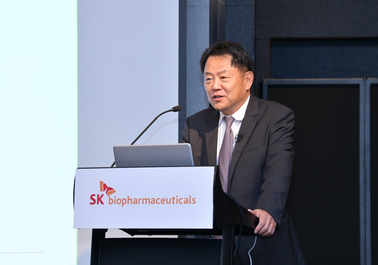 SK Biopharmaceuticals CEO Cho Jeong-woo speaks at a teleconference with reporters held Monday. (SK Biopharmaceuticals)