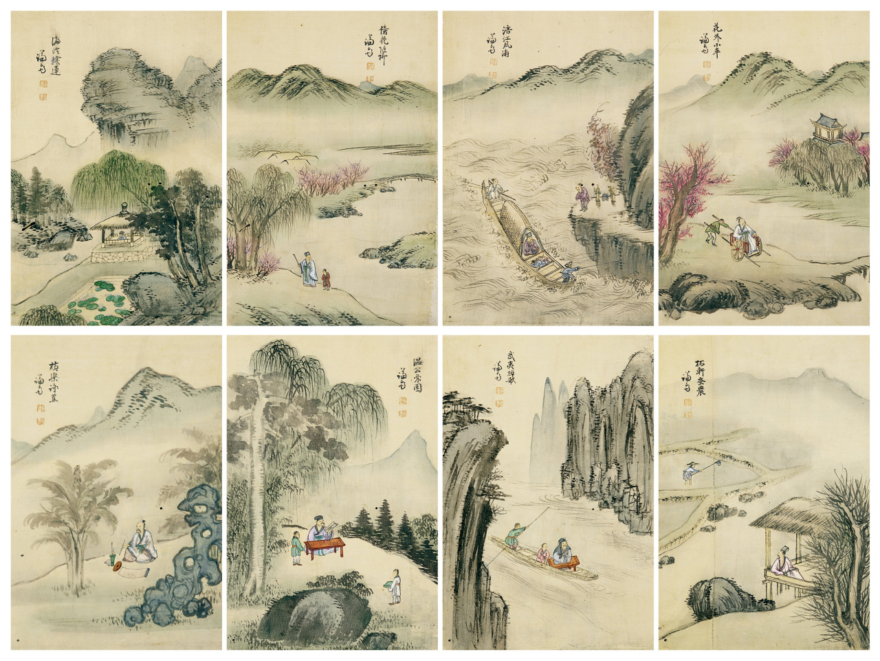 Songyu palhyeondo (eight Confucian scholars of the Song dynasty) by Jeong Seon from the painting album designated as Treasure 1796 (K Auction)
