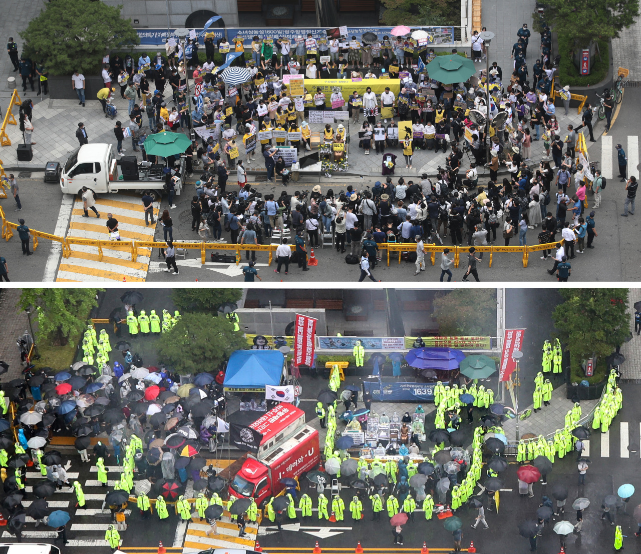 Two rallies take place 10 meters apart near the former Japanese Embassy building in Seoul on Wednesday. The top photo shows the Korean Council for Justice and Remembrance for the Issues of Military Sexual Slavery by Japan, waging its 1,445th weekly rally. The bottom photo shows the Freedom Union, which took over the spot where the survivor advocacy group had gathered for 28 years. (Yonhap)