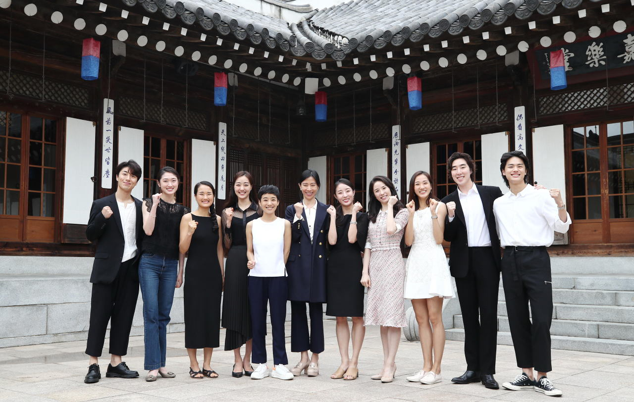 Dancers who participated in the gala shows of the 10th Ballet Festival Korea pose for photos before the press event held Thursday at Korea House in Chungmuro, central Seoul. (Yonhap)