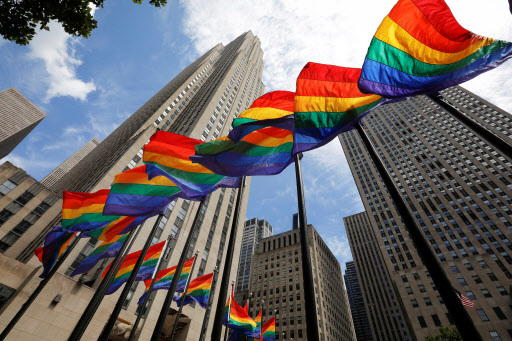 Rainbow flags fly at Rockefeller Center in midtown Manhattan in support of the LGBT community (Reuters-Yonhap)