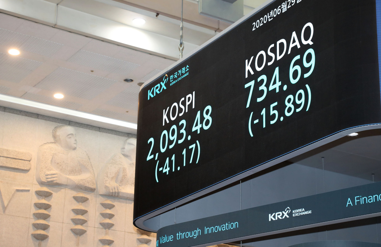 A sign at the Korea Exchange shows the Monday's closing prices of two major stock indexes. (KRX)