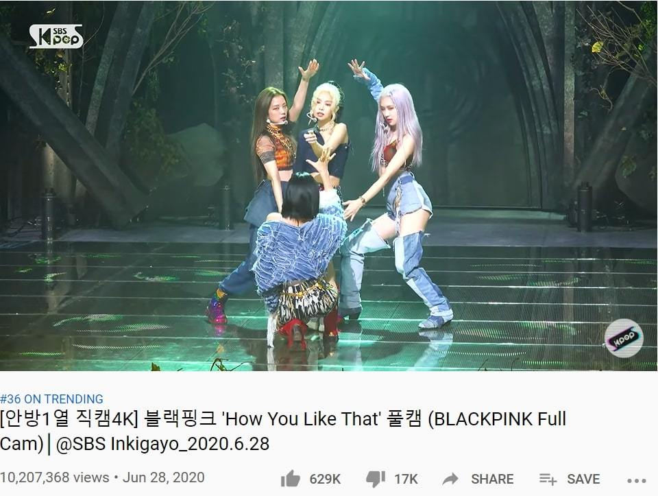 "K-pop stars' fancams are seen on the YouTube channel for SBS' ""Inkigayo."" (Screenshotted from YouTube)"