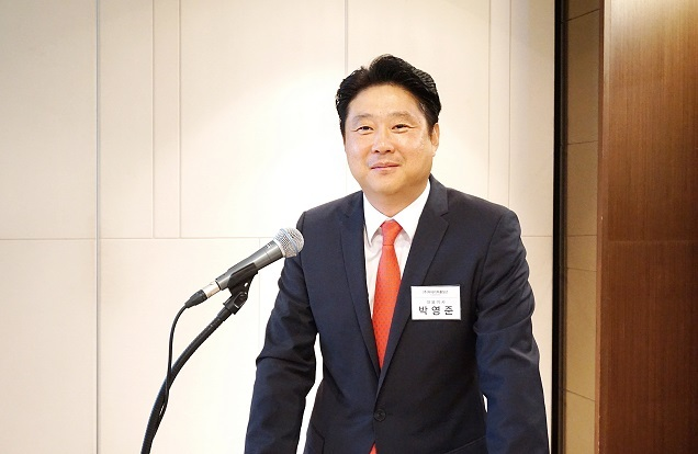 The Nature Holdings CEO Park Young-jun speaks at a briefing in Seoul on Monday. (The Nature Holdings)